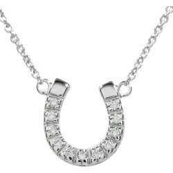 Star jewelry horseshoe / horse's hoof 11P, diamond necklace pendant /K18WG/750-3.3g/ white gold /STAR JEWELRY ■ 299487