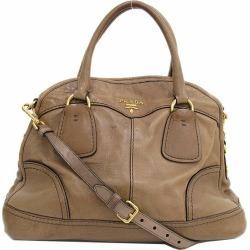 PRADA (Prada) 2WAY shoulder hand tote bag tea brown leather netshop