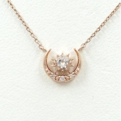 Star jewelry K10PG necklace white topaz diamond 0.01 used jewelry ★★ giftwrapping for free