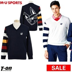 Golf wear latest in MU sports M you sports M.U SPORTS MUSPORTS men sweater V neck sweater V ネックニットアーモデザイン color horizontal stripe logo embroidery 2019 spring and summer