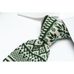 レコパン Les copains knit Thailand tie square Thai narrow Thai men whole pattern green white green white / Italy brand