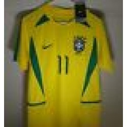 RONALDINHO RETRO VINTAGE BRAZIL WORLD CUP 2002 SOCCER HOME JERSEY found on Bargain Bro from  for $