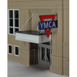 Miller Engineering 3072 HO Animated Neon Sign YMCA Large Horizontal