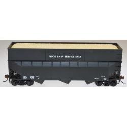 Bowser 57013 HO 70-Ton 3-Bay Offset-Side Woodchip Hopper Dim Data