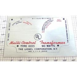 Lionel 1033-25S Transformer Nameplate Sticker Label