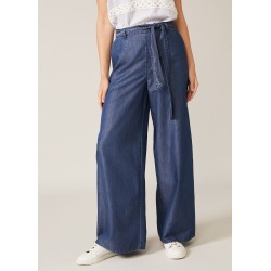 Phase Eight Women's Jane Chambray Wide Leg Trouser, Blue, Wide found on Bargain Bro UK from Phase Eight