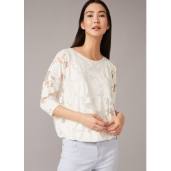 Phase Eight Cerys Floral Burnout Top, Cream, Tops found on MODAPINS from Phase Eight for USD $68.89