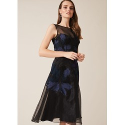 Phase Eight Simone Applique Flower Dress, Black, Fit & Flare, Occasion Dress