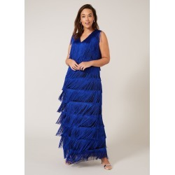 Studio 8 Tessa Fringe Maxi Dress, Blue, Maxi, Occasion Dress found on Bargain Bro UK from Phase Eight