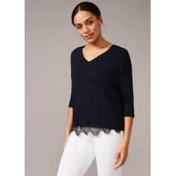 Phase Eight Danella Lace Trim Double Layer Top, Blue, Tops found on MODAPINS from Phase Eight for USD $34.66