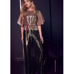 Phase Eight Women's Kay Sparkle Sequin Trousers, Black, Wide found on Bargain Bro UK from Phase Eight