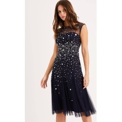 Phase Eight Lena Sequinned Dress, Blue, Fit & Flare found on Bargain Bro UK from Phase Eight