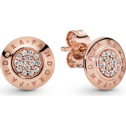 Sparkling Pandora Logo Stud Earrings - 14k Rose Gold-plated Unique Metal Blend / Clear found on MODAPINS from Pandora Jewellery UK for USD $97.27