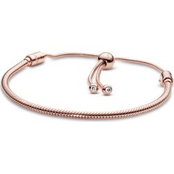Pandora Moments Snake Chain Slider Bracelet - Silicone / 14k Rose Gold-plated Unique Metal Blend / Clear found on MODAPINS from Pandora Jewellery UK for USD $156.56