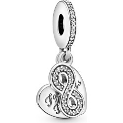 Pandora Forever Friends Heart Dangle Charm - Sterling Silver / Clear found on MODAPINS from Pandora Jewellery UK for USD $69.48