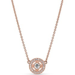 Pandora Vintage Circle Collier Necklace - 14k Rose Gold-plated Unique Metal Blend / Clear found on MODAPINS from Pandora Jewellery UK for USD $138.96
