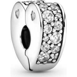 Pandora Clear Pavé Heart Clip Charm - Silicone / Sterling Silver found on MODAPINS from Pandora Jewellery UK for USD $43.84