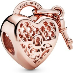 Pandora Love You Heart Padlock Charm - 14k Rose Gold-plated Unique Metal Blend found on MODAPINS from Pandora Jewellery UK for USD $56.36