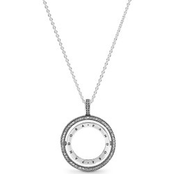 Pandora Logo Circle Necklace - Silicone / Sterling Silver / Clear found on MODAPINS from Pandora Jewellery UK for USD $138.96