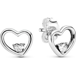 Pandora Asymmetrical Heart Stud Earrings - Sterling Silver / Clear found on MODAPINS from Pandora Jewellery UK for USD $50.10