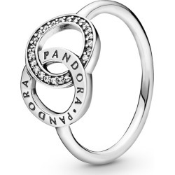 Entwined Circles Pandora Logo & Sparkle Ring - Sterling Silver / Clear found on MODAPINS from Pandora Jewellery UK for USD $62.53