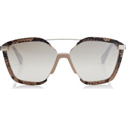 LEON Light Gold Metal Frame and Nude Ayers Leather Covered Sunglasses found on Bargain Bro Philippines from Jimmy Choo for $510.00