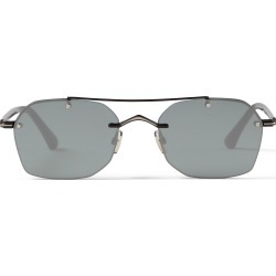 KIT Matte Black Titanium and Acetate Square Sunglasses with Grey Silver Mirror Lenses