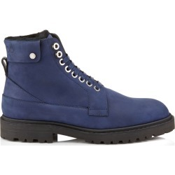 The Voyager: SNOW/M Navy Nubuck Leather and Black Shearling Ankle Boots with Heated Soles found on MODAPINS from Jimmy Choo for USD $1895.00