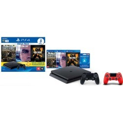 Console Playstation 4 Slim 1TB Hits Bundle v5.1 + Controle Playstation Dualshock 4 Magma Red - PS4