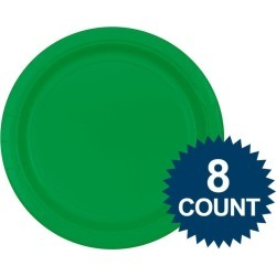 """Green 7"""" Paper Cake Plates (8 Pack)"""