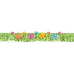 Hibiscus Fringed Banner W/ Paper & Fabric Flowers (Each)
