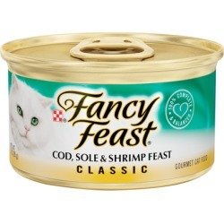 Fancy Feast Classic Cat Food Cod, Sole & Shrimp Feast 24 x 3 oz