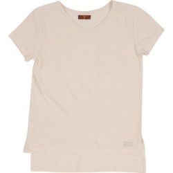 7 For All Mankind Women's Girl's S-XL Short Sleeve Tee in Cream