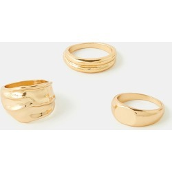 Accessorize Gold Luxurious Chunky Ring Set, Size: L found on Bargain Bro UK from Accessorize