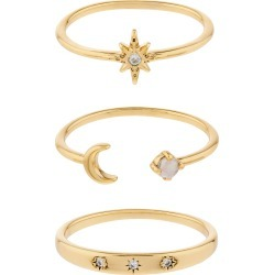 Accessorize Gold Brass Celestial Stacking Ring Set, Size: XS found on Bargain Bro UK from Accessorize