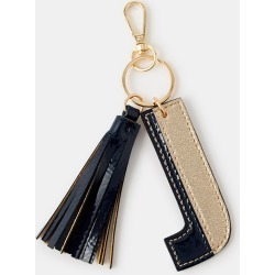Accessorize Women's Beige, Blue and Black Letter J Keyring, Size: 9x6cm found on Bargain Bro UK from Accessorize
