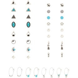 Accessorize Women's Silver And Green Ethnic Turquoise Stud and Hoop Earring Multipack, Size: 1.5cm found on Bargain Bro UK from Accessorize