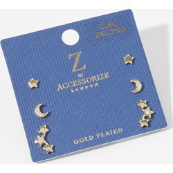 Accessorize Women's Gold-Plated Celestial Stud Earring Set, Size: 1x1cm found on Bargain Bro UK from Accessorize