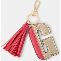 Accessorize Beige and Red Colourblock Letter G Keyring, Size: 9x6cm found on Bargain Bro UK from Accessorize
