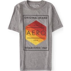 Aeropostale Aero Original Brand Logo Graphic Tee - Medium Heather Grey, Small