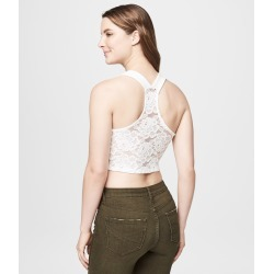 Aeropostale Lace Racerback Bodycon Crop Tank - Floral White, XSmall found on Bargain Bro Philippines from Aeropostale for $22.50