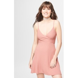 Aeropostale Solid V-Neck Ribbed Fit & Flare Dress - Light Red, Medium found on Bargain Bro India from Aeropostale for $39.50