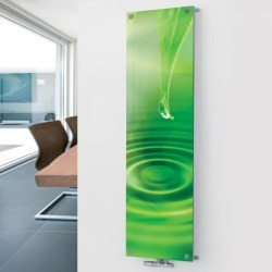 Glass Picture Radiator P4 Water Drop Showroom Sale - 1800 x 445 Single - Green