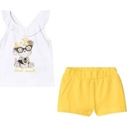 Mayoral White and Yellow Puppy Print Ruffle Top and Shorts Set 9 months