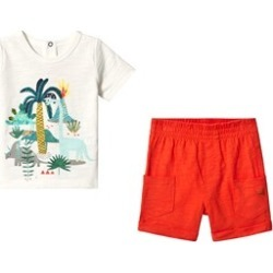 Catimini White Dinosaur Jungle T-Shirt & Shorts Set 9 months
