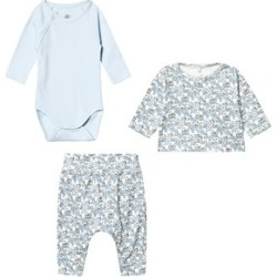Petit Bateau Petit Bateau Blue and Printed Trouser, Cardigan and Body Set 1 Month