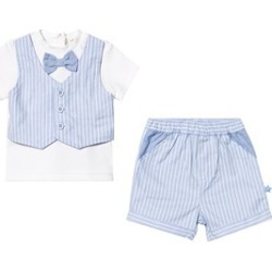 Mintini Baby Blue and White Stripe 3 Piece Short Tee and Waistcoat Set 9 months