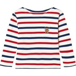 Maison Labiche Red Blue and White Striped Ginger Bread Man Long Sleeve T-Shirt 4 years