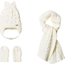 Mayoral Cream Knit Hat, Scarf and Mittens Set 12 months