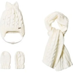 Mayoral Mayoral Cream Knit Hat, Scarf and Mittens Set 12 months
